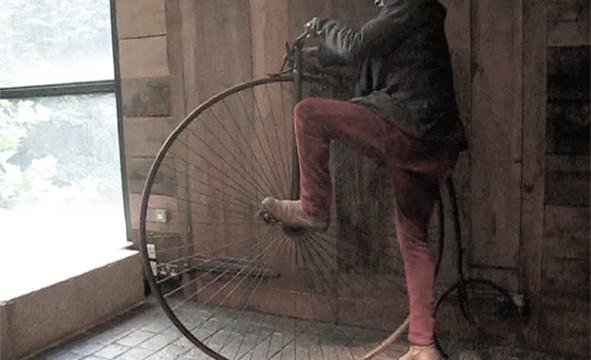 Samson Kambalu, 1876 (On the Penny Farthing), video Still, 2012
