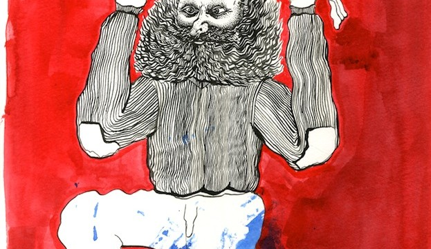 Hardeep Pandhal, Untitled, India ink on paper, 2011