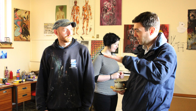 Rt Hon Andy Burnham MP visits New Art Spaces Leigh, and talks to artist Aaron Pearce.