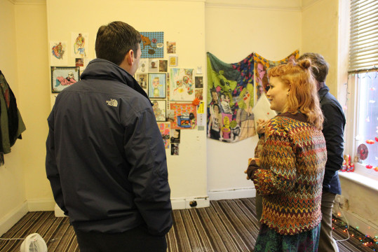 Rt Hon Andy Burnham MP visits New Art Spaces Leigh, and talks to artist Emily Calland.