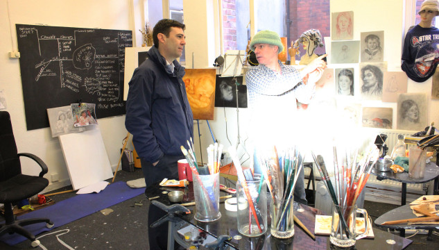 Rt Hon Andy Burnham visits New Art Spaces Leigh on 20 December 2013, and talks to the artists working there.