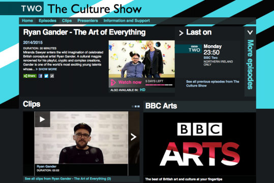 Castlefield Gallery was thrilled earlier this week to see the Culture Show special on BBC 2 'The Art of Everything' with Ryan Gander.