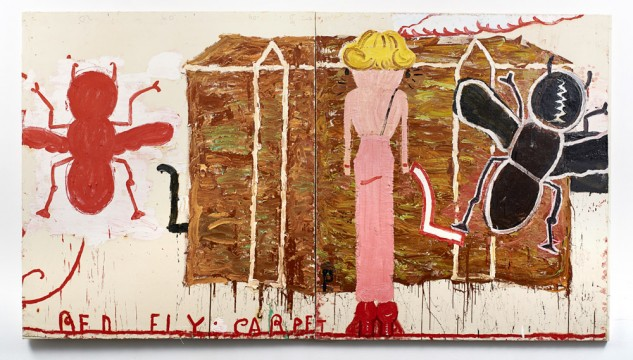 Image: Black Strap (Red Fly) by Rose Wylie, 2014, Oil on Canvas, 184 x 332 cm