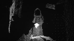Image from Shadow Worlds (2012/13); Kinect video, black & white, looped. Part of the ongoing series Shadow Worlds | Writers' Rooms Edition of 6.