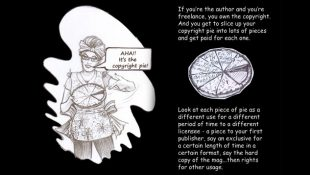 B/w drawing of copyright pie by Hope London