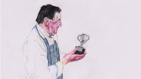 Drawing of prize-winning fishmonger by Sam Curtis