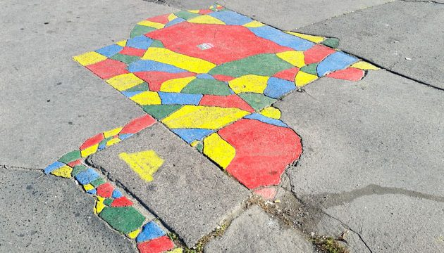 Four-colour pavement painting by Two-tailed Dog Party