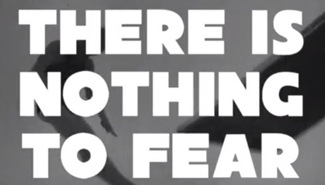 "Text frm performance by Clive Parkinson saying ""There is nothing to fear"""