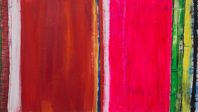 Detail of painting with vertical bands of colour