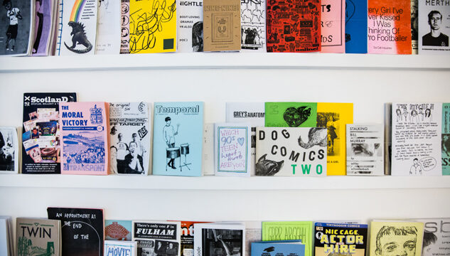 Zine library from exhibition Fanspeak by Shy Bairns
