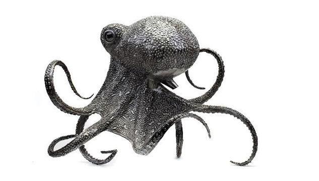 Steel sculpture of octopus