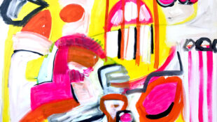 Abstract pring in yellow, pink, scarlet, grey, white and black