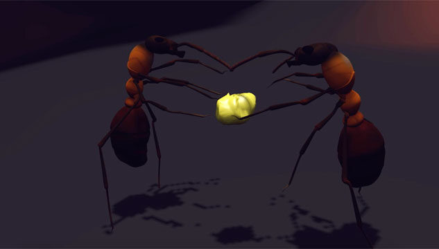 Computer-generated image of ants holding a luminous yellow object
