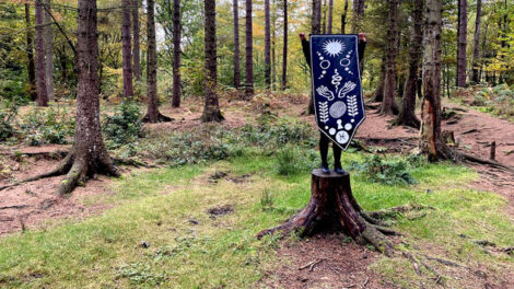 Image of person standing on tree stump and obscured by cloth sigil which they are holding up
