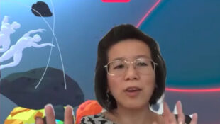 Dr Cecilia Wee gesturing, in a promo video for With For About