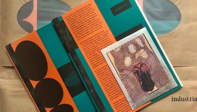 The June Industria publication containing essay Saturday's Child: Notes on Work & Living - text on a green and orange background, and watercolour artwork for a wildflower seed packet by Jade Montserrat