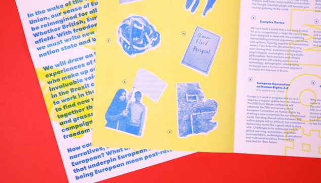Details of the publication New European Identies, including blue images of peole on a yellow background